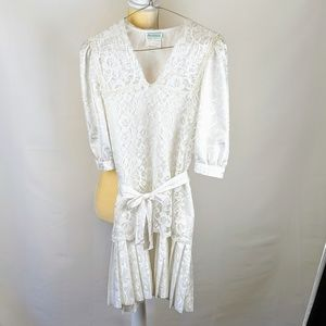 Rare Editions Vintage Girl's White Lacey Dress